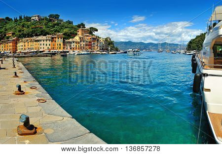 Picturesque view of the Portofino bay from pier