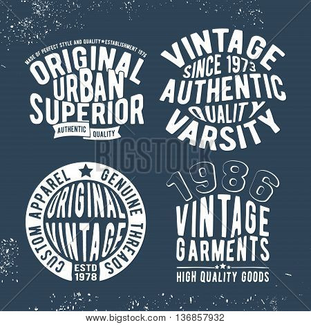 T-shirt print design. Set of vintage stamp. Printing and badge, applique, label for t-shirts, jeans, casual wear. Vector illustration.