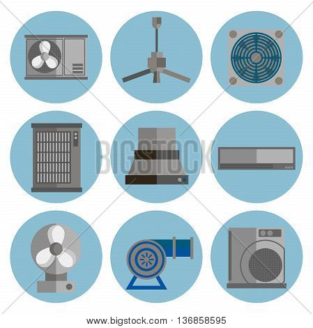 Conditioning system flat icons set. Conditioners icons isolated on white background.