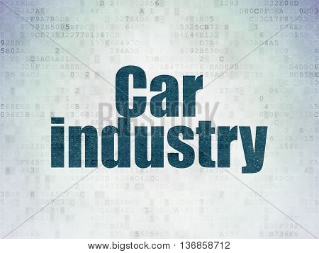 Industry concept: Painted blue word Car Industry on Digital Data Paper background