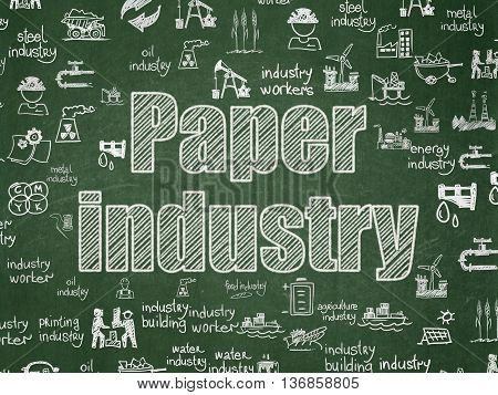 Manufacuring concept: Chalk White text Paper Industry on School board background with  Hand Drawn Industry Icons, School Board