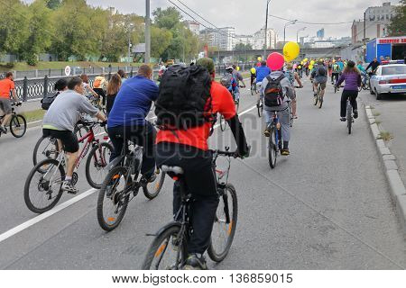 MOSCOW - SEP 7, 2015: Bike ride in honor of city of Moscow, view from back