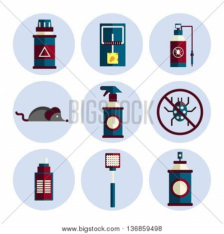 Exterminator service flat icons set . Vector illustration, EPS 10