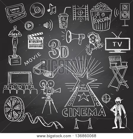 Cinema and entertainment arts hand drawn decorative icons set on black board