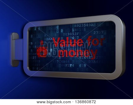 Money concept: Value For Money and Money Box With Coin on advertising billboard background, 3D rendering