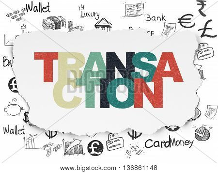 Money concept: Painted multicolor text Transaction on Torn Paper background with  Hand Drawn Finance Icons