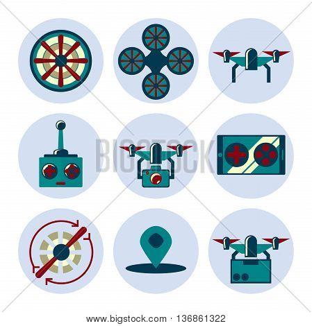 Quadrocopter flat icons set. Vector illustration, EPS 10
