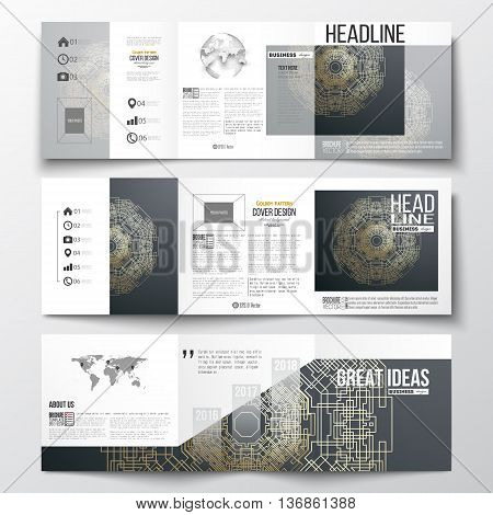 Set of tri-fold brochures, square design templates with element of world map and globe. Round golden technology pattern on dark background, mandala template with connecting lines and dots.