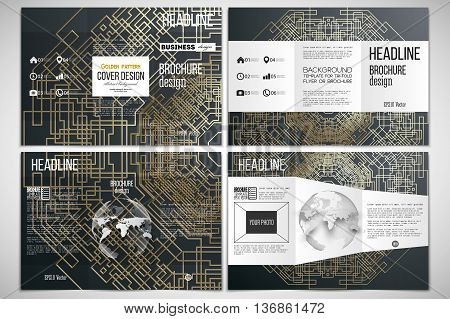 Vector set of tri-fold brochure design template on both sides with world globe element. Golden technology pattern on dark background with connecting lines and dots, connection structure. Digital scientific vector