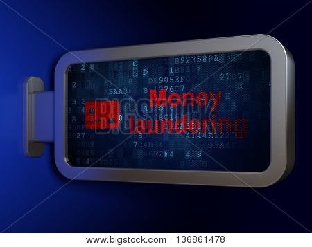Banking concept: Money Laundering and Credit Card on advertising billboard background, 3D rendering