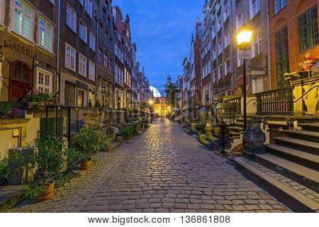 GDANSK, POLAND - 21 JUNE 2016: Beautiful architecture of Mariacka (St. Mary) street in Gdansk at night. Baroque architecture of Mariacka street is one of the most notable tourist attractions in Gdansk