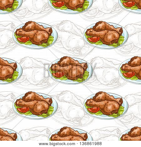 Seamless pattern chicken legs scetch and color. Vector illustration, EPS 10