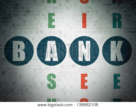 Banking concept: Painted blue word Bank in solving Crossword Puzzle on Digital Data Paper background