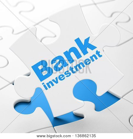 Money concept: Bank Investment on White puzzle pieces background, 3D rendering