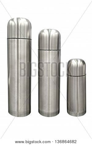 stainless steel thermos isolated on white background