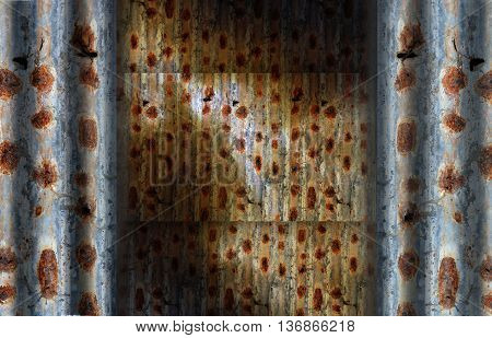 rusty corrugated iron sheets, dirty grunge background