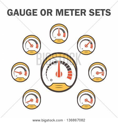 Gauge meter vector icons sets design on white.