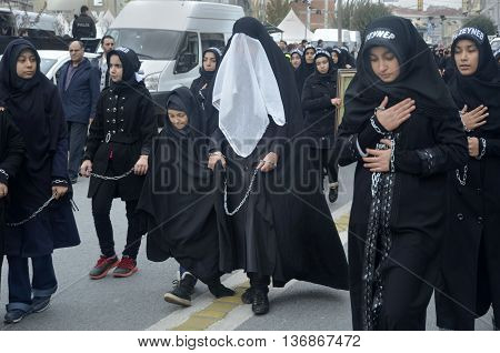 Istanbul Turkey - November 3 2014: Universal Ashura Mourning Ceremony. Day of Ashura. A Universal Ashura Mourn Ceremony