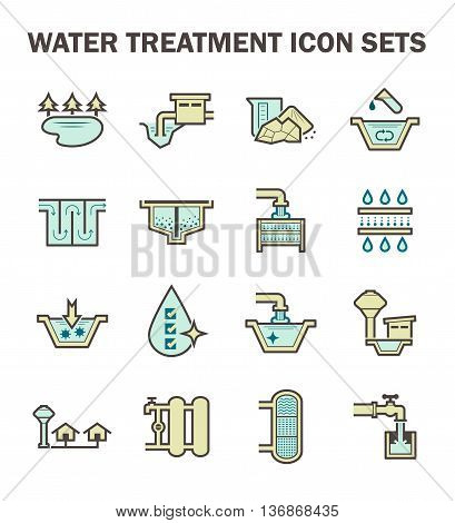 Water treatment and water supply icon set design.
