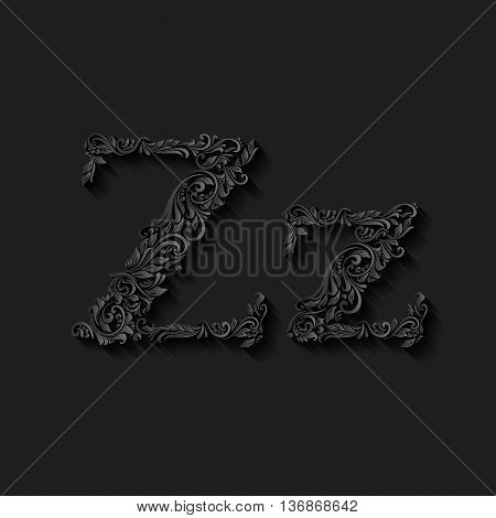Handsomely decorated letter z in upper and lower case on black