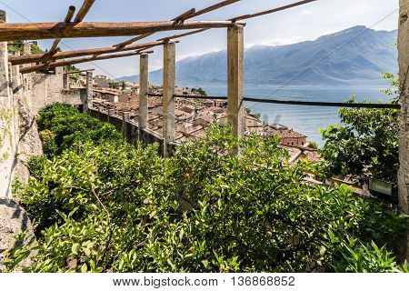 Old lemon house in Limone sul Garda lake Garda Italy.