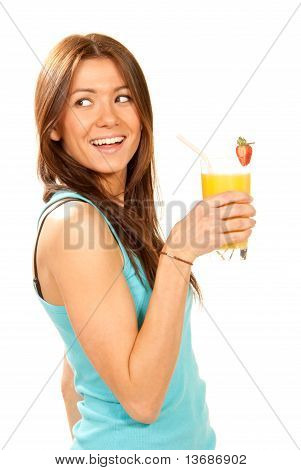 Woman Drinking Orange Juice Cocktail With Strawberry