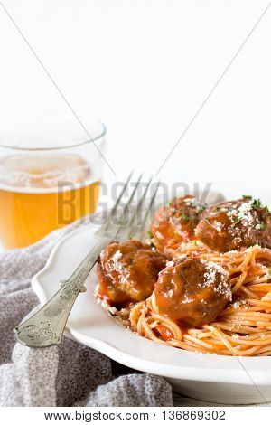 Tasty Meatballs With Spaghettie And Tomato Sauce In The Plate,selective Focus
