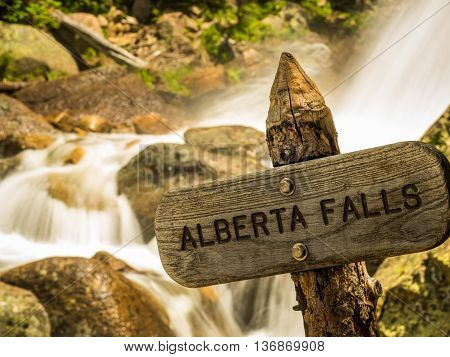 Wooden sign at Alberta Falls in Rocky Mountain National Park