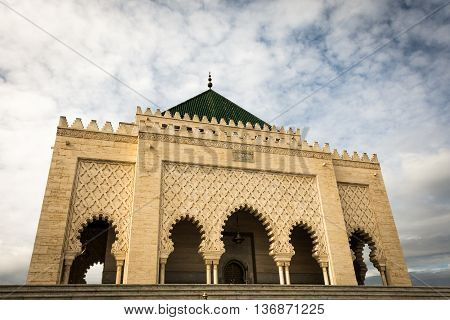 exterior view of the mohammed tomb in Rabat in Morocco