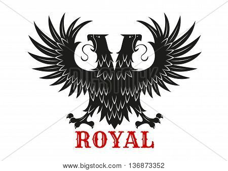 Royal eagle icon with mythical double headed black bird standing with wings spread. Symbol of courage and power for heraldic coats of arms or tattoo design usage
