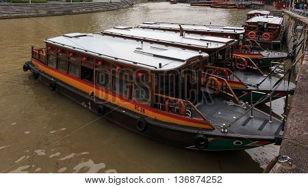 SINGAPORE - June 16,2016: Clarke Quay, a mecca for tourists, is a historical riverside quay in Singapore, located within the Singapore River Planning Area