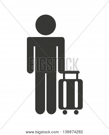 silhouette of person in airport isolated icon design, vector illustration  graphic