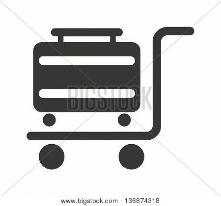 suitcase in cart  isolated icon design, vector illustration  graphic