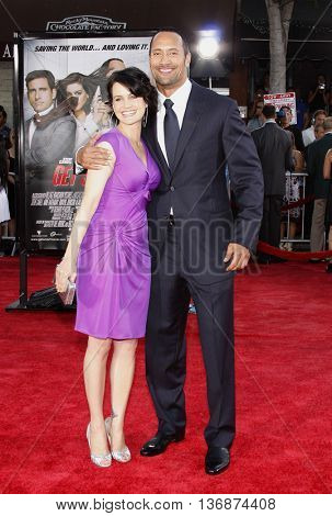 Carla Gugino and Dwayne 'The Rock' Johnson at the World premiere of 'Get Smart' held at the Mann Village Theater in Westwood, USA on June 16, 2008.