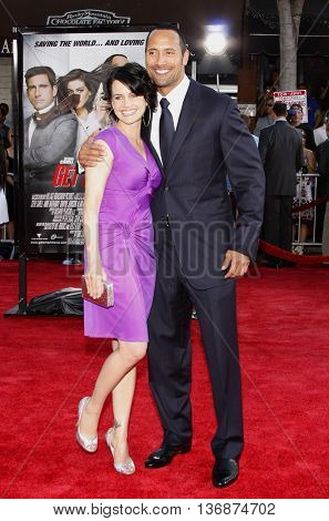 Dwayne Johnson and Carla Gugino at the World premiere of 'Get Smart' held at the Mann Village Theater in Westwood, USA on June 16, 2008.