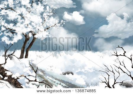 White Snow Land. Watercolor Style Digital Artwork