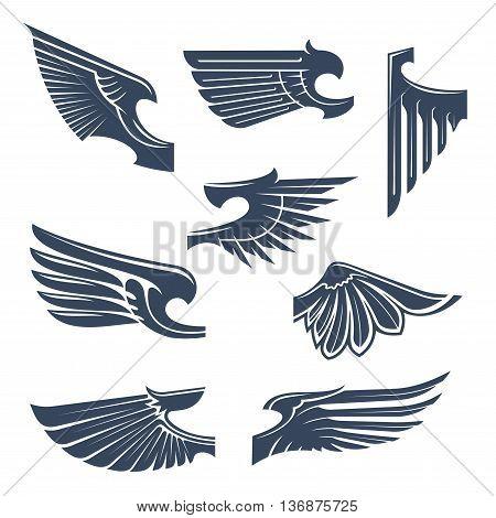 Medieval heraldry symbols of birds or mythical beasts wings with tribal stylized pointed feathering. Tattoo or coat of arms design elements