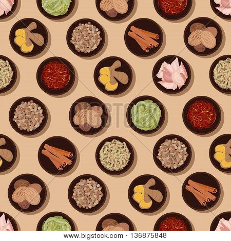 Culinary pattern of fresh and dried condiments and spices seamless background with ginger and garlic, cinnamon and saffron, nutmegs and fennel, cardamom pods and coriander seeds. Great for food packaging or kitchen interior design