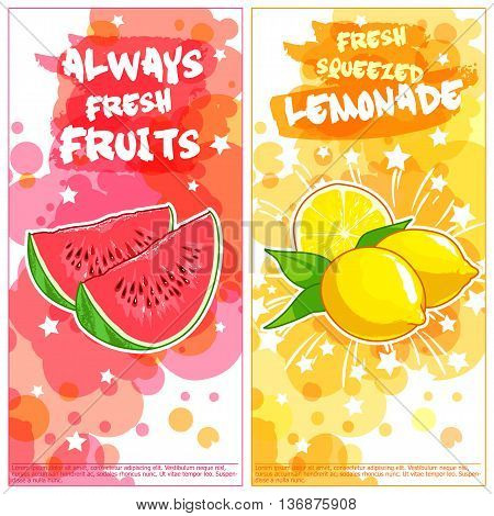 Two vertical orientation flyers with fruits. Always fresh fruits and lemonade. Vector template flayer isolated on a white background.