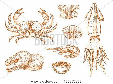 Fresh atlantic crab, squid and shrimp, sushi nigiri with tuna and scallop, salmon steaks and smoked roe red sketch icons. Old fashioned recipe book, oriental seafood restaurant symbol design usage