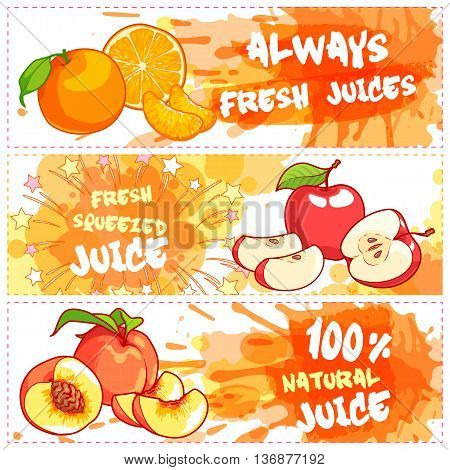 Three horizontal banners for fruit juices. Fresh natural juice. Vector template flayer isolated on a white background.