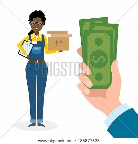 Money for delivery. African american female cartoon character. Delivery woman gets money. Hand holding dollars for boxes. Happy smiling supplier or delivery aget.