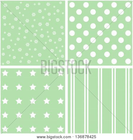 Abstract set of 4 background patterns in green.
