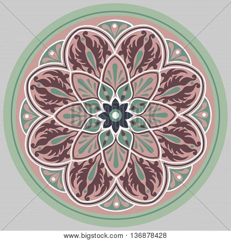 Drawing of a floral mandala in turquoise, vinous and pink colors on a gray background
