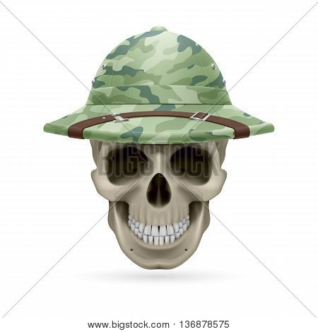 Cork camouflage hat on skull isolated on white background