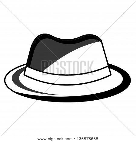 vintage hat with loop front view over isolated background, fashion concept, vector illustration