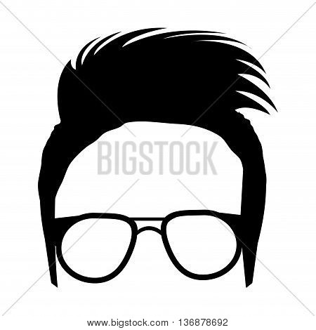 avatar human head wearing eyeglasses with black hair and modern haircut front view over isolated background, fashion concept, vector illustration