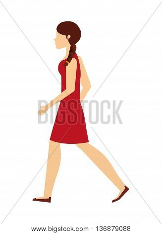 young woman walking isolated icon design, vector illustration  graphic