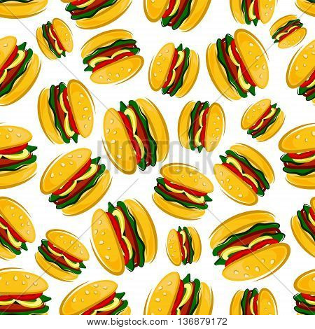 Cartoon background of traditional american barbecue hamburgers with seamless pattern of grilled burger patties with fresh green leaves of lettuce, tomato and onion rings on bun topped with sesame seeds
