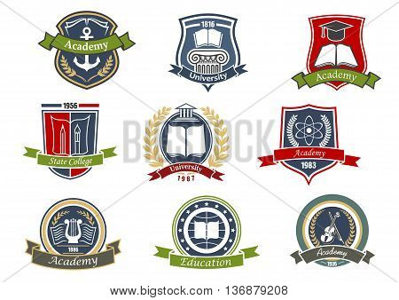 Music, architecture and sciences, visual arts and literature, maritime and theater symbols for academy, university and college emblems or badges design with heraldic shields, laurel wreaths and ribbon banners